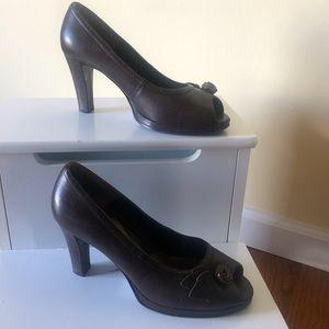 Brown What's What by Aerosole peep toe heels